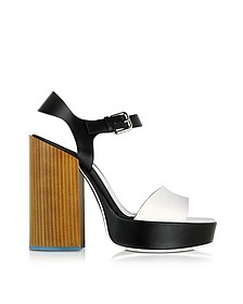 Black & White Leather Platform Sandal  - Jil Sander