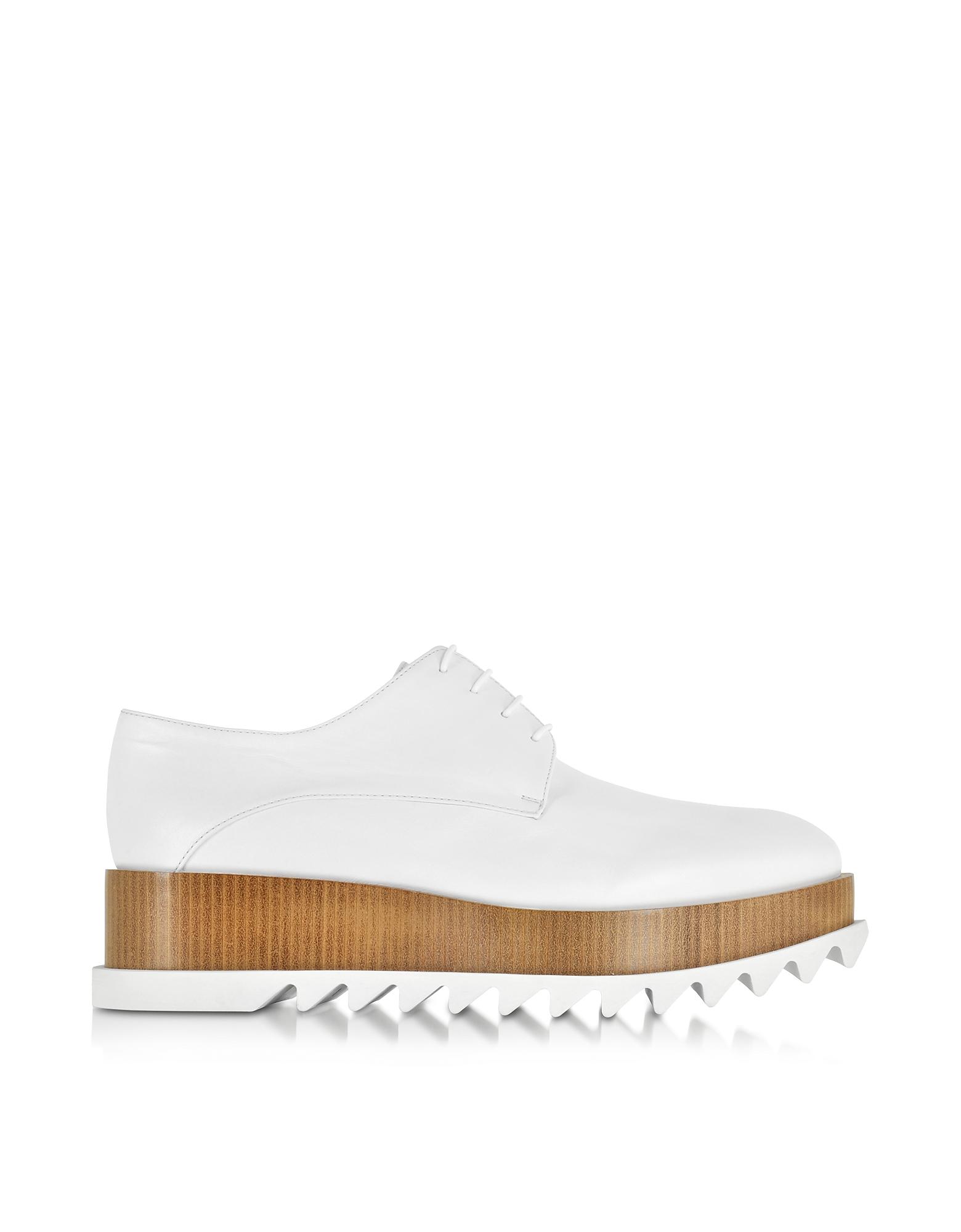 Белые Кожаные Туфли со Шнуровкой на Платформе