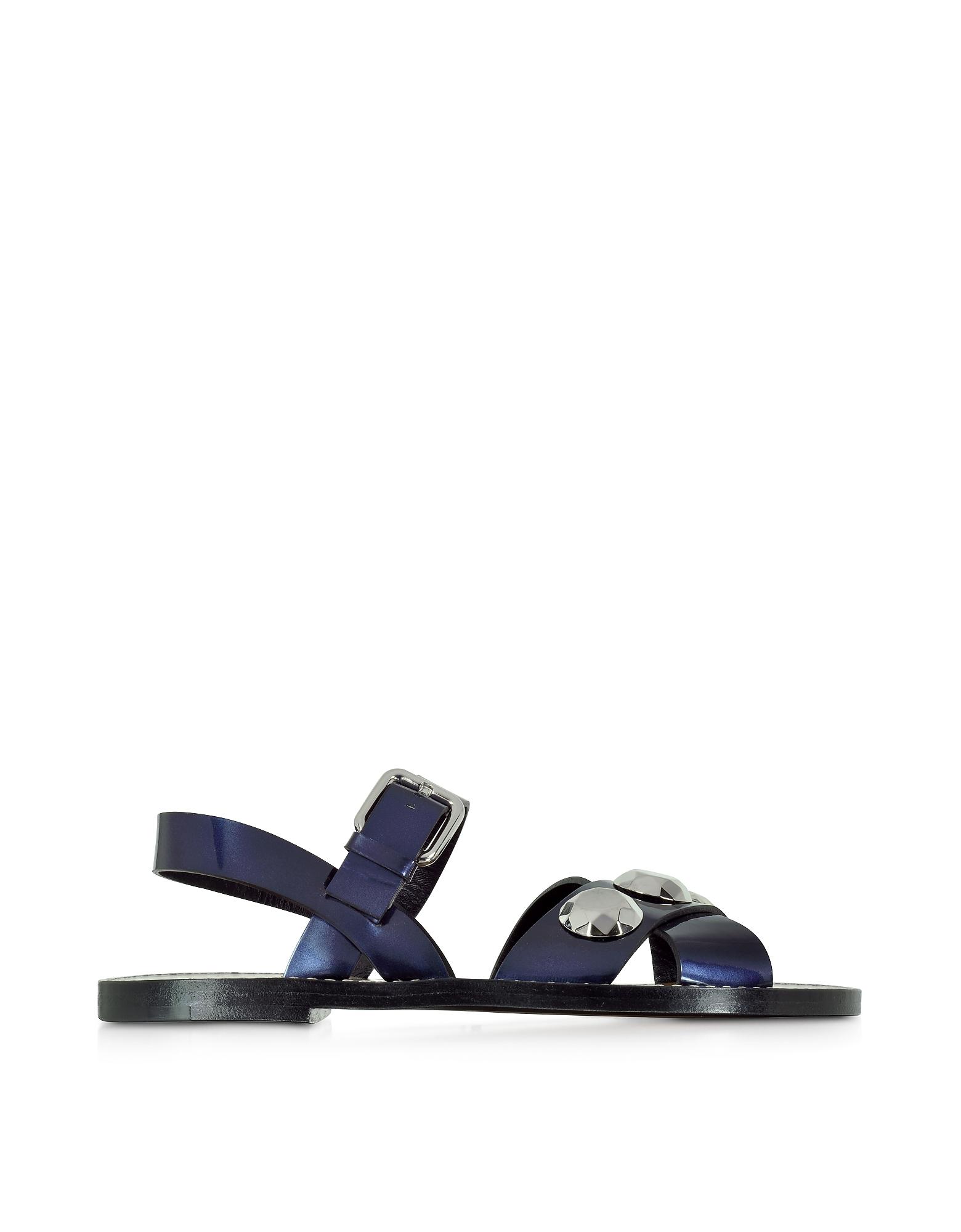 Фото Темно-синие Кожаные Сандалии на Плоской Подошве. Купить с доставкой