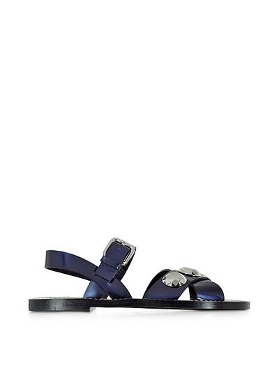 Dark Blue Leather Flat Sandal - Jil Sander