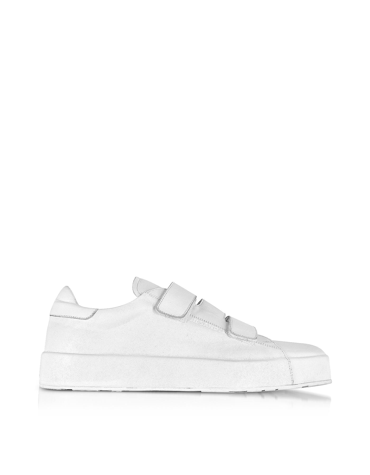 Sneaker da Donna in Nappa Bianco Ottico e Velcro