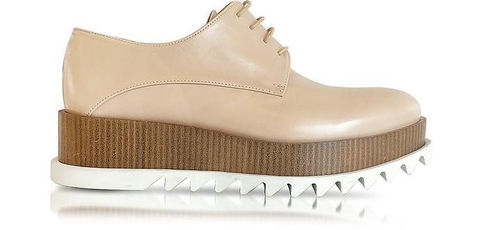 Nude Leather Platform Oxford Shoe - Jil Sander