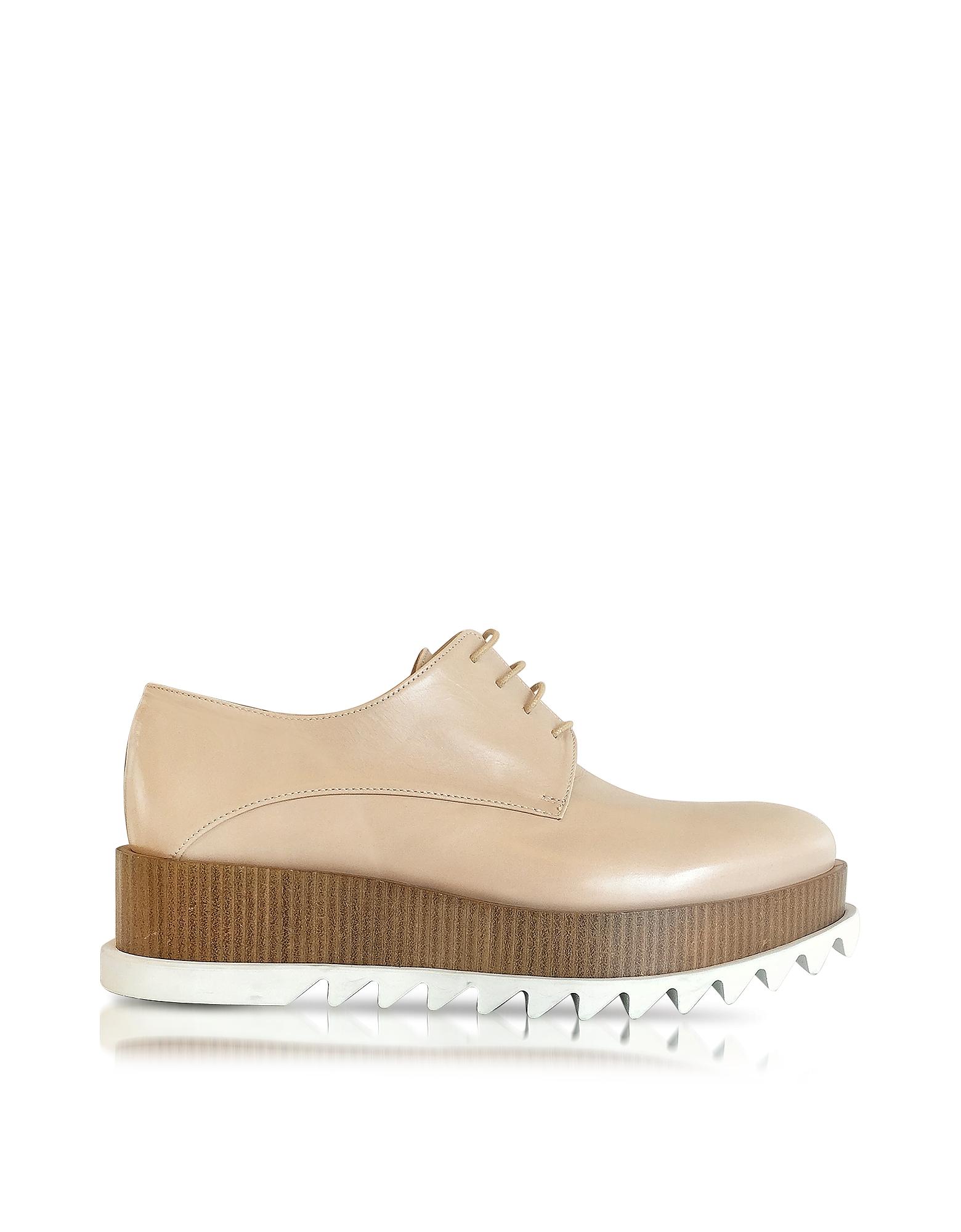 Jil Sander Shoes, Nude Leather Platform Oxford Shoe
