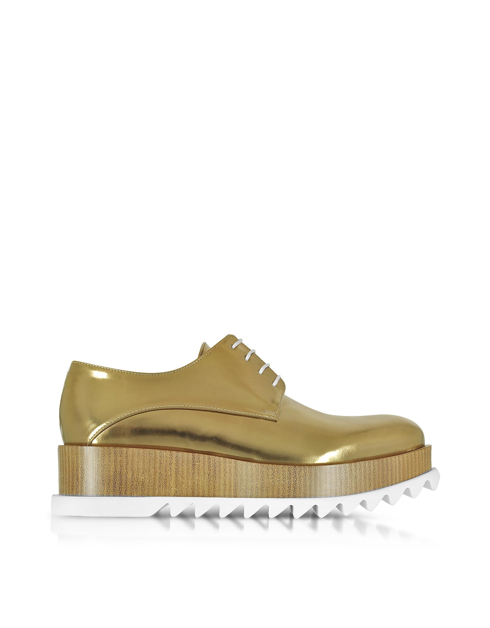 Jil Sander Shoes, Bronze Leather Platform Oxford Shoe