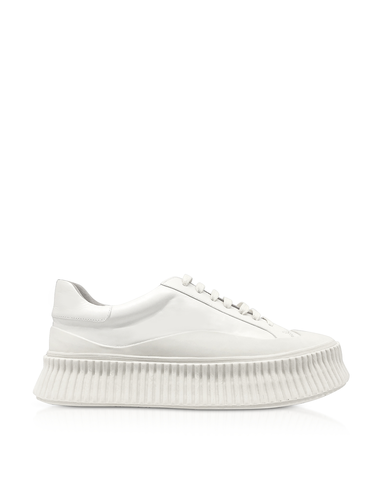 Pure White Leather Flatform Sneakers