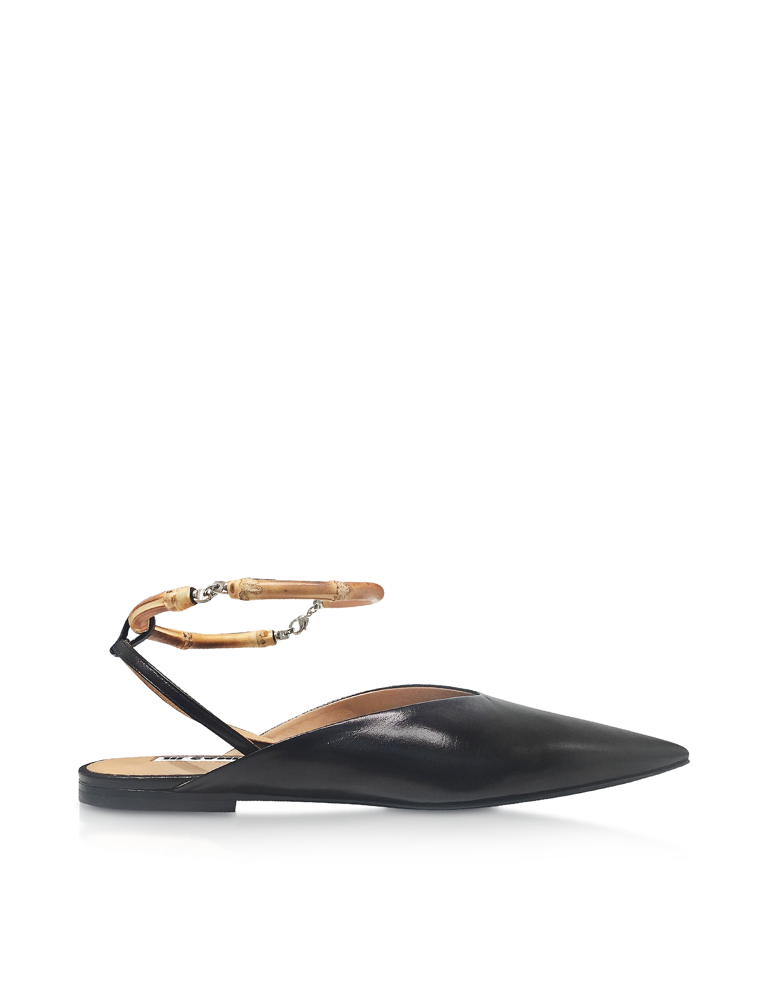 Plates En Cuir Noir Slingback Chaussures