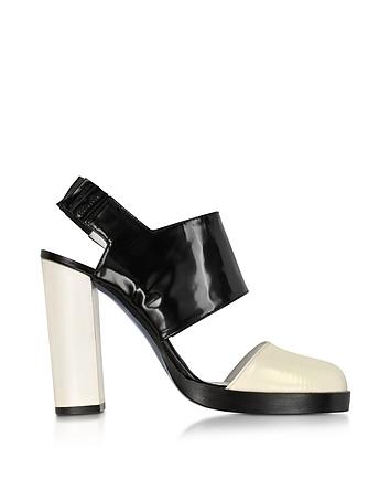 Black and Cream High Heel Slingback