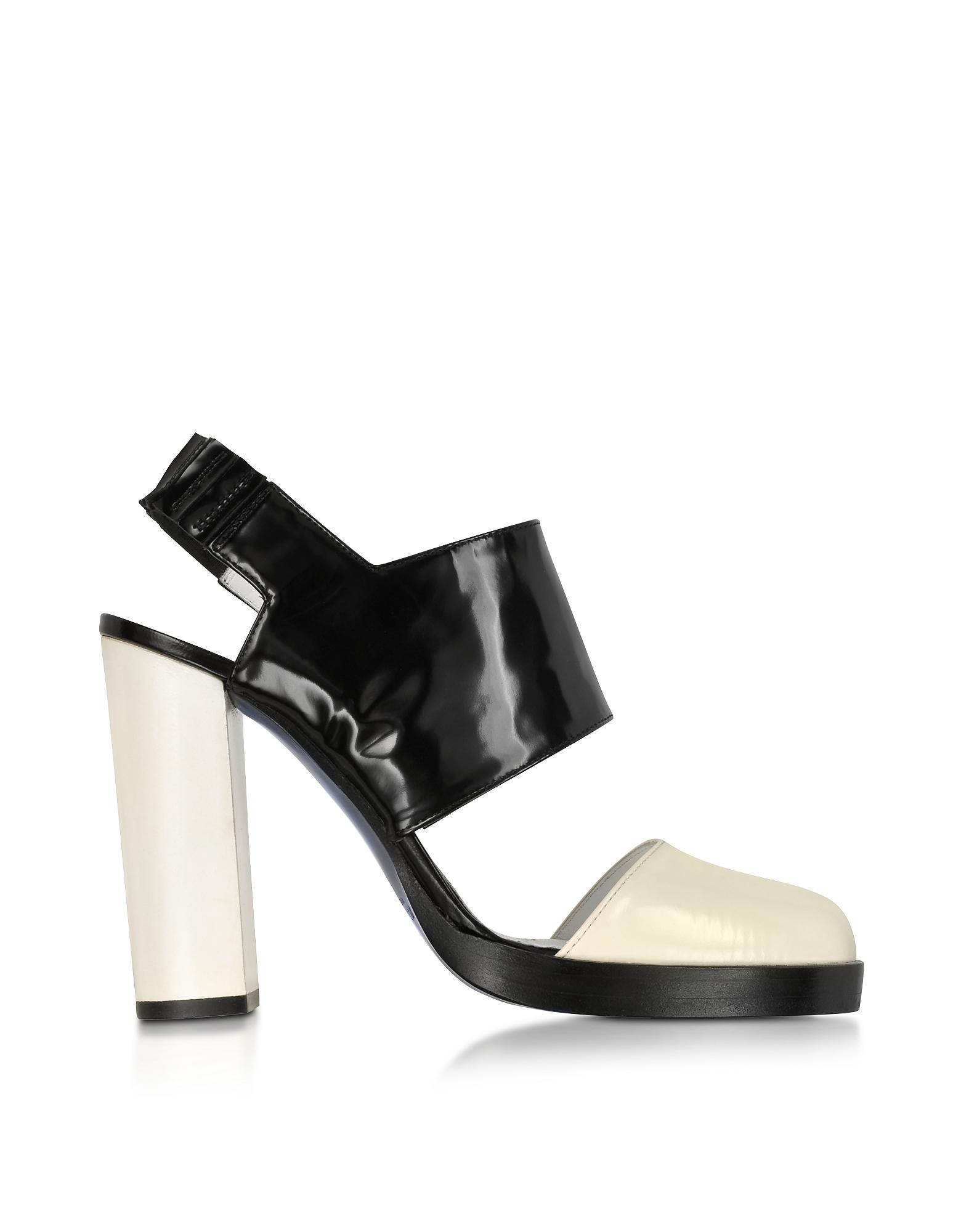 Jil Sander Shoes, Black and Cream High Heel Slingback