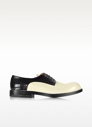 Black and Cream Lace up Shoe - Jil Sander