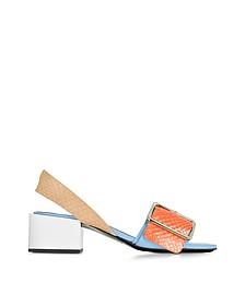 Python and Leather Mid-heel Sandal - Jil Sander