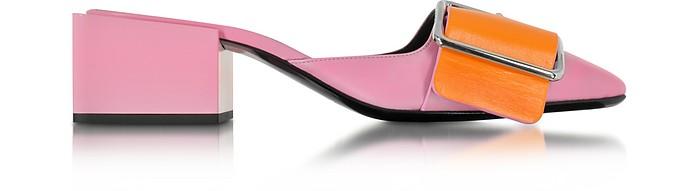 Pink & Orange Leather Mid-heel Mule - Jil Sander