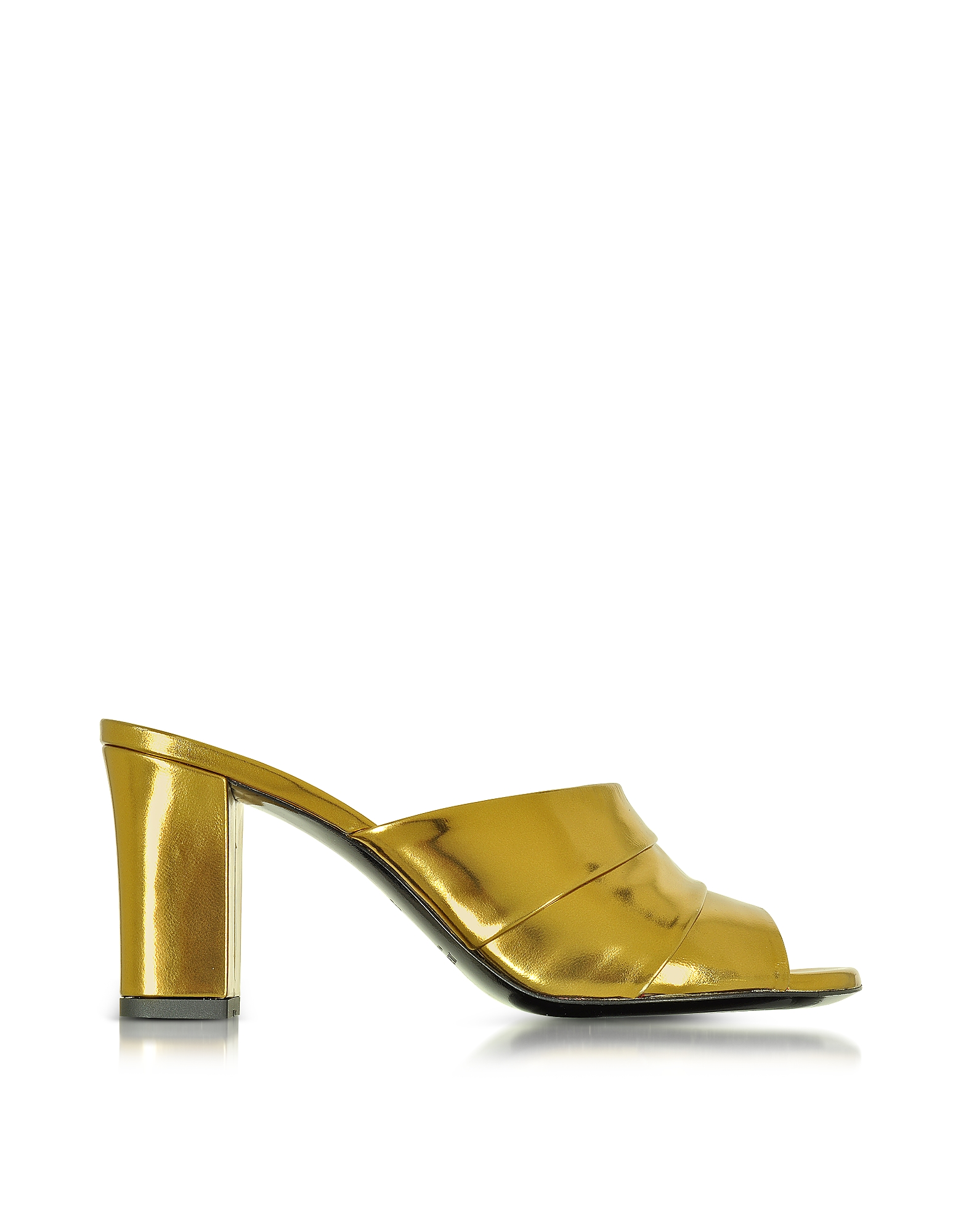 Sandalo in Pelle Laminata Oro con Tacco Alto
