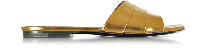 Laminated Leather Flat Slide - Jil Sander