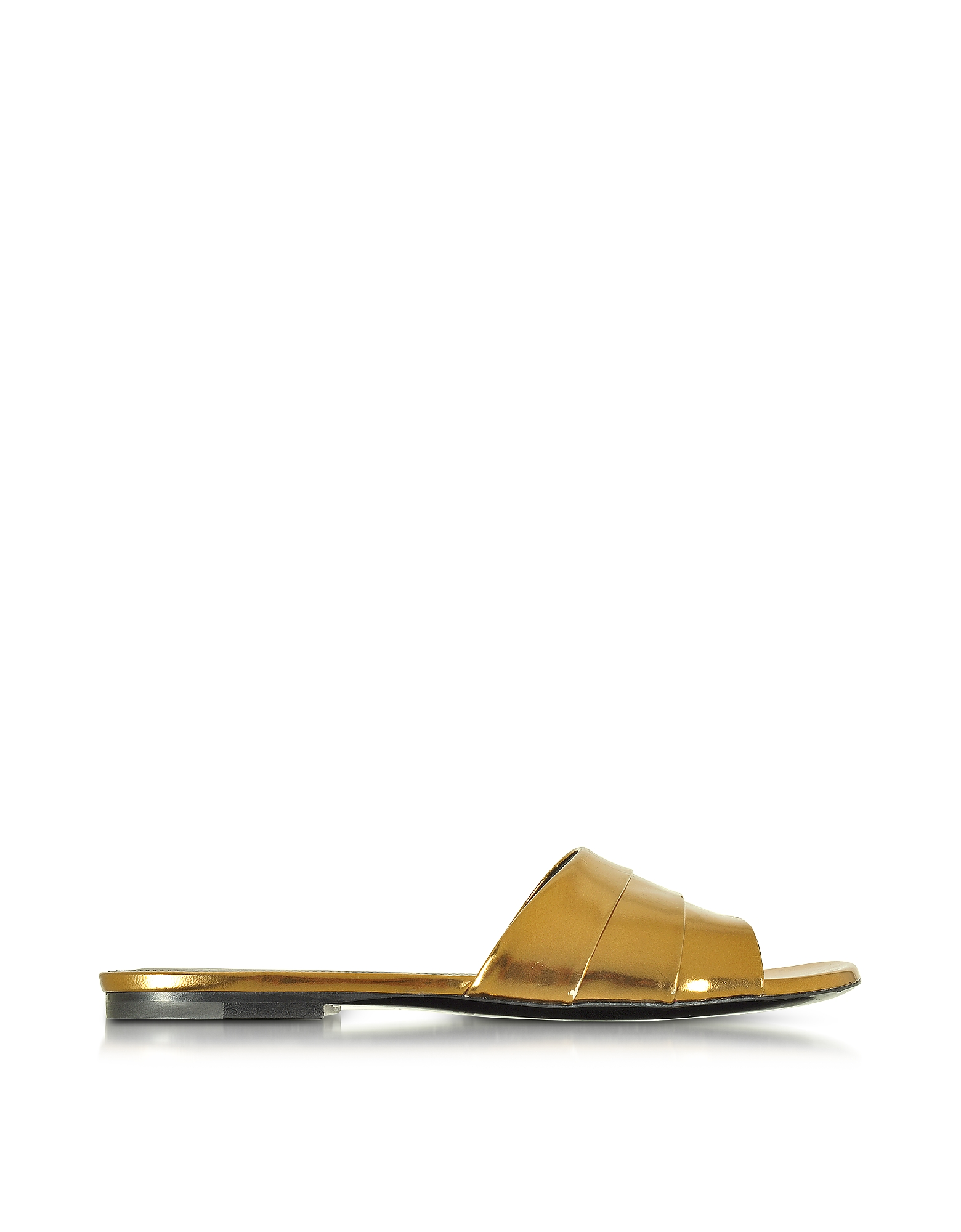 Jil Sander Shoes, Laminated Leather Flat Slide