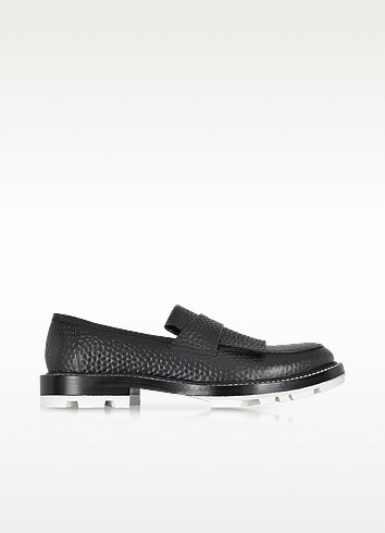 Black Hammered Leather Loafer w/White Sole - Jil Sander