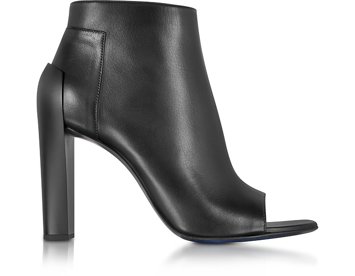Black Leather Peep Toe Ankle Bootie - Jil Sander