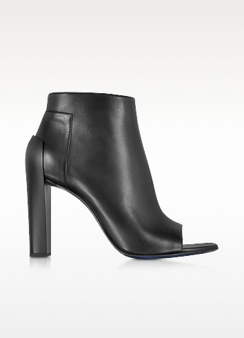 Black Leather Peep Toe Ankle Bootie - Jil Sander