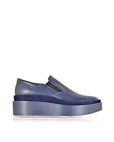 Navy Blue Leather and Suede Platform Loafer - Jil Sander