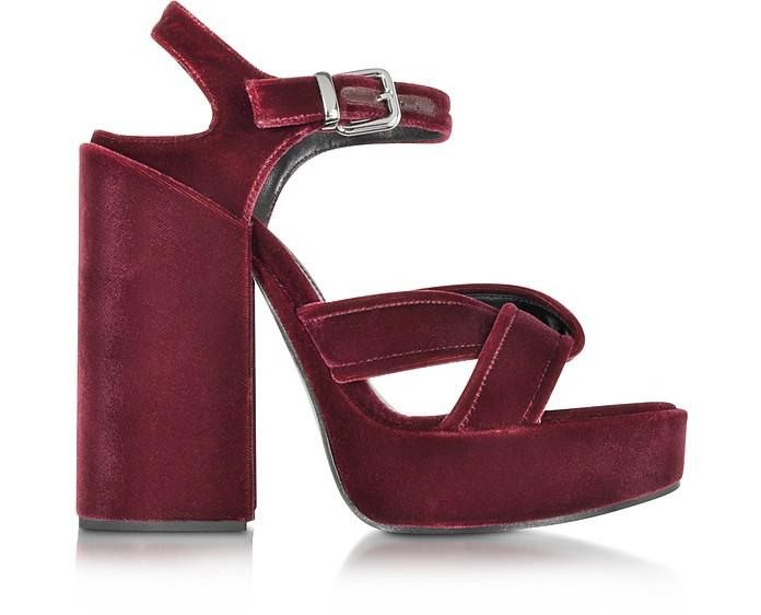 Bordeaux Velvet Platform Sandal - Jil Sander