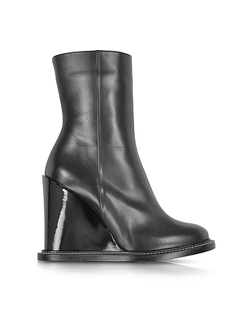Black Leather Wedge Ankle Boot