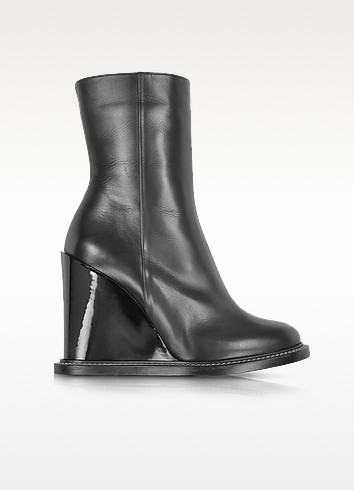 Black Leather Wedge Ankle Boot - Jil Sander