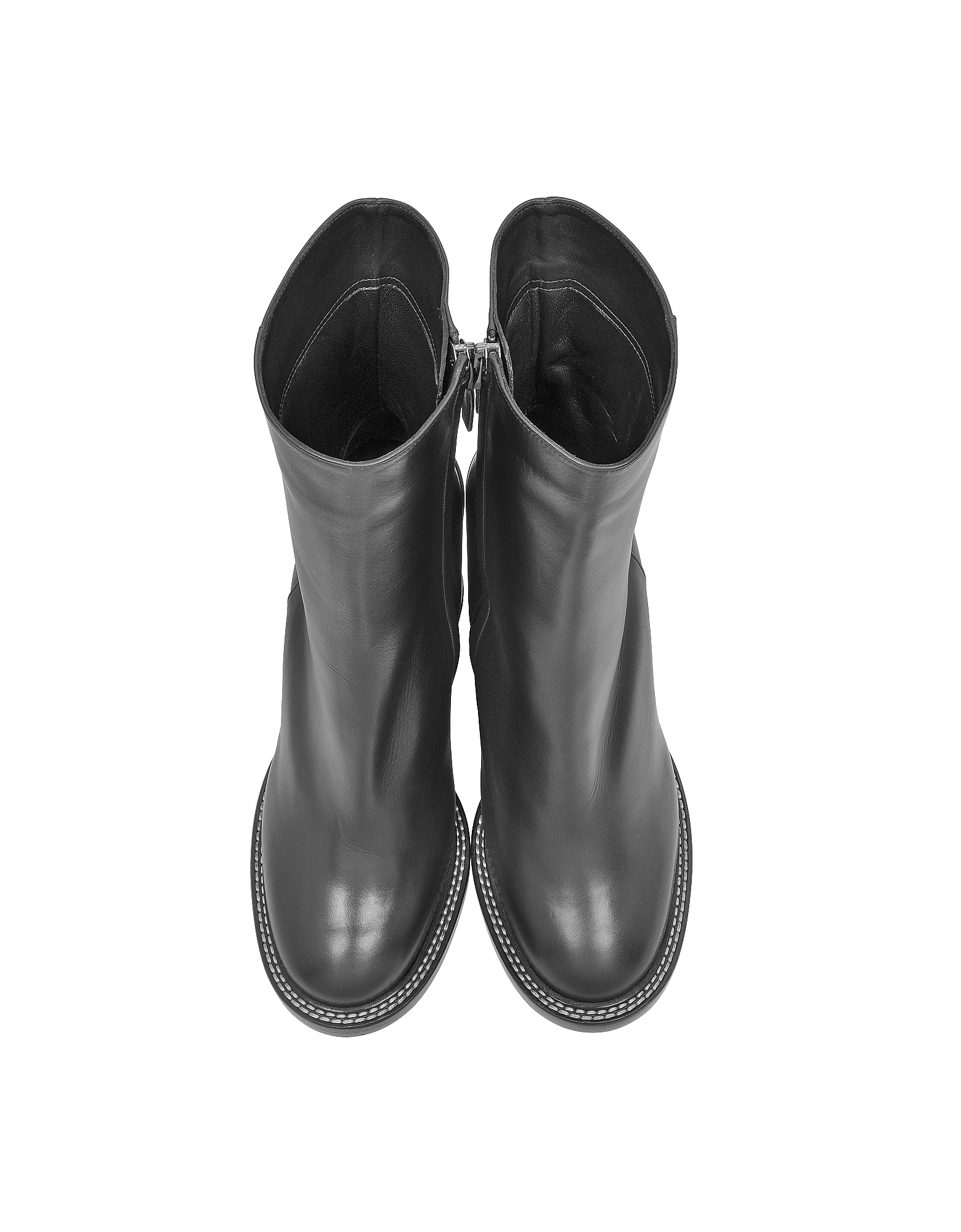 Black Leather Wedge Ankle Boot от Forzieri.com INT
