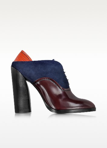 Multicolor Leather and Suede Lace-up Bootie - Jil Sander