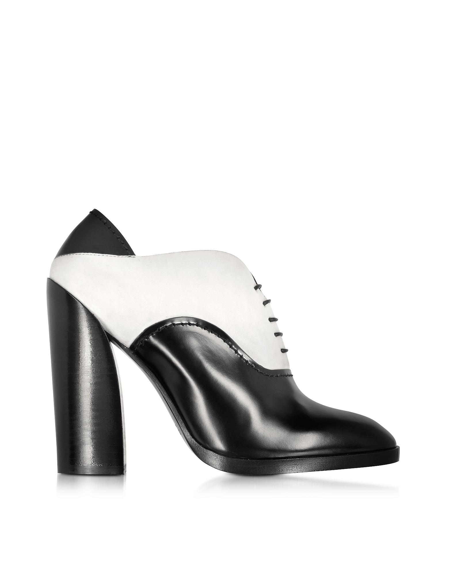 Ботинки из Черно-Белой Кожи и Замши со Шнуровкой