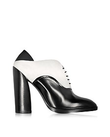 Black & White Leather and Suede Lace-up Bootie - Jil Sander
