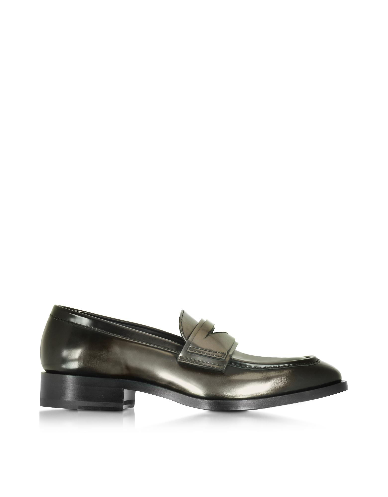Jil Sander Shoes, Mirror Black Leather Loafer Shoe