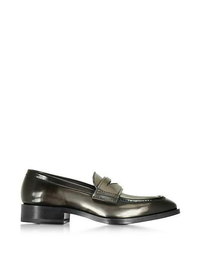 Mirror Black Leather Loafer Shoe - Jil Sander
