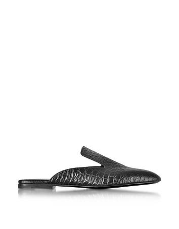 Jil Sander - Black Embossed Croco Leather Mule
