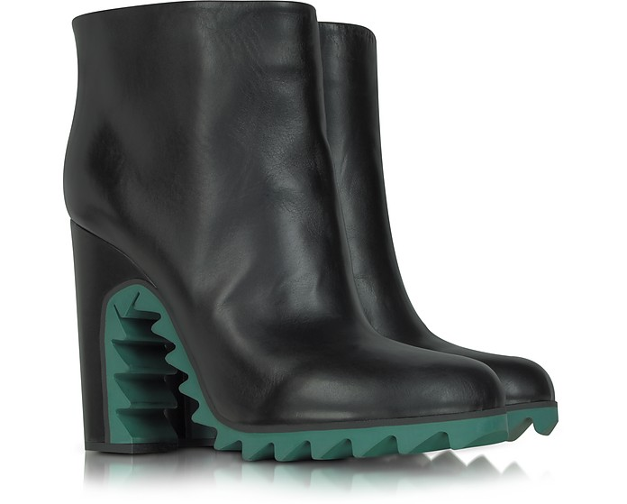 Green Sawtooth Leather Ankle Boot - Jil Sander