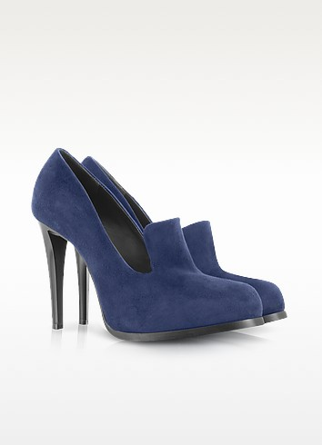 Navy Blue High Heel Suede Loafer - Jil Sander