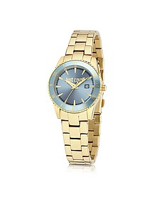 Just In Time Gold Tone Stainless Steel Women's Watches w/Blue Dial - Just Cavalli