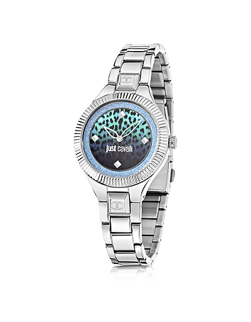 Just Cavalli - Just Indie Silver Tone Stainless Steel Women's Watch w/Animal Print Dial