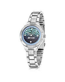 Just Indie Silver Tone Stainless Steel Women's Watch w/Animal Print Dial - Just Cavalli