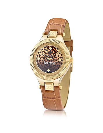 Just Cavalli - Just Indie Stainless Steel Women's Watch w/Brown Leather Strap