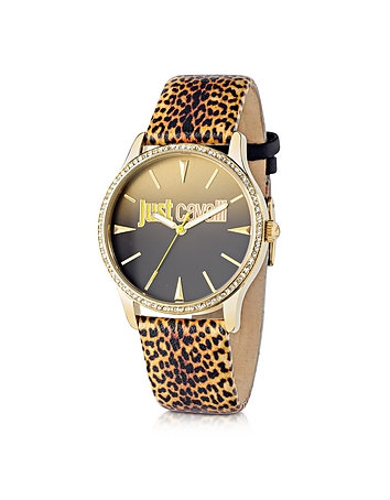 Just Paradise Yellow Animal Print Women's Watch