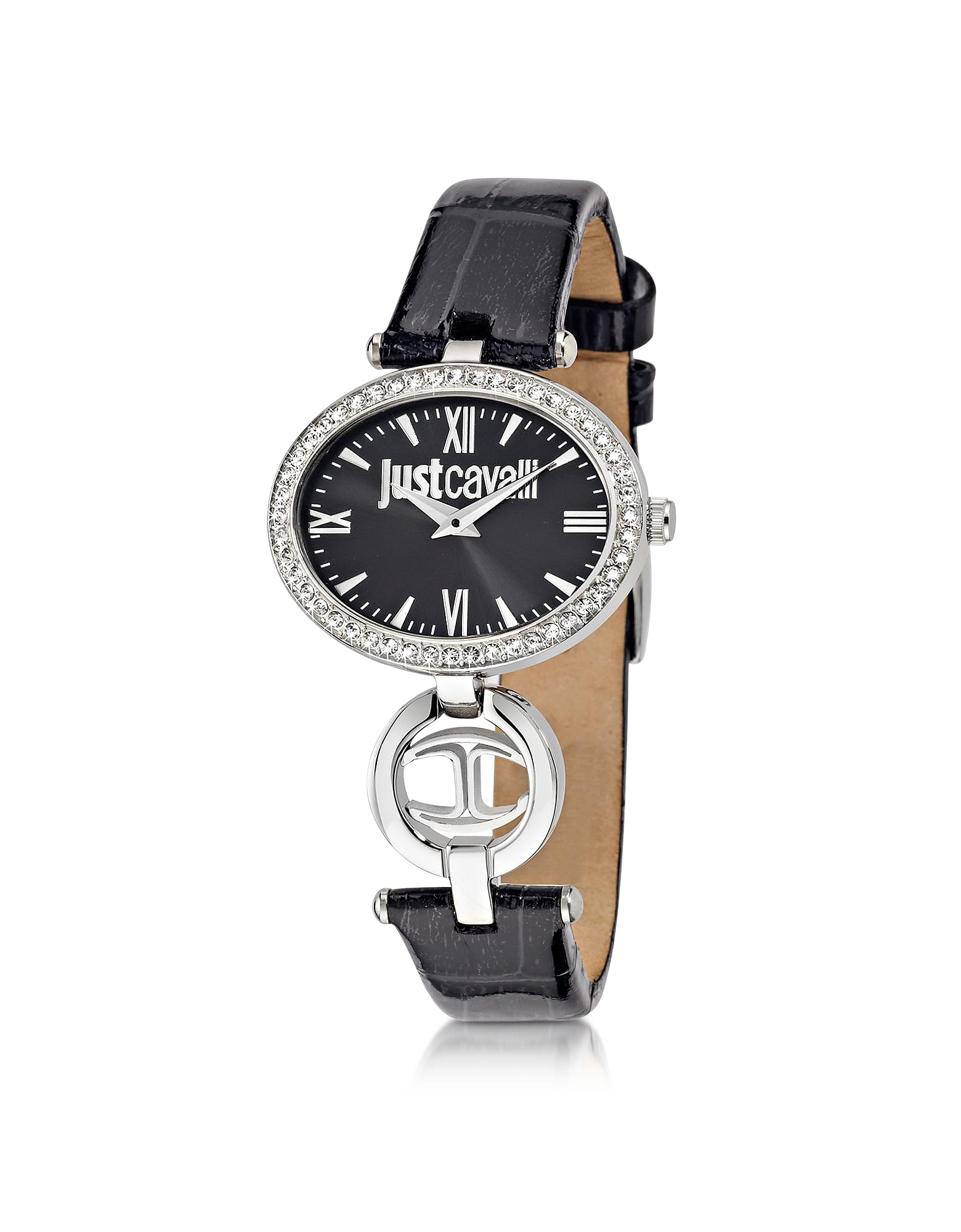 Just Cavalli Women's Watches, Just Icon Silver Stainless Steel w/Black Croco Embossed Patent Leather