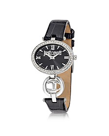 Just Icon Silver Stainless Steel w/Black Croco Embossed Patent Leather Women's Watch - Just Cavalli