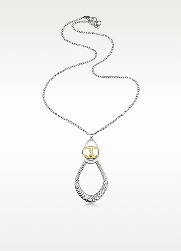 Icon Silver PVD Drop Chain Necklace - Just Cavalli