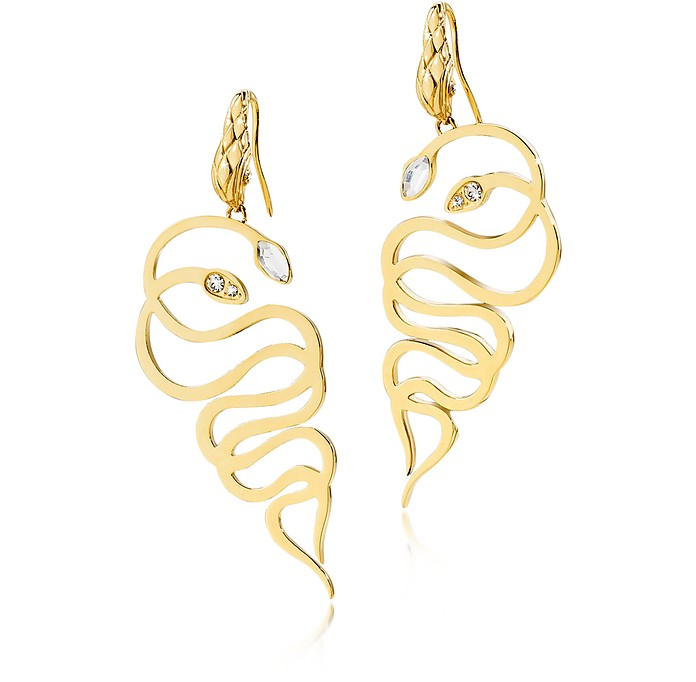Just Medusa Golden Steel Earrings w/Crystals - Just Cavalli