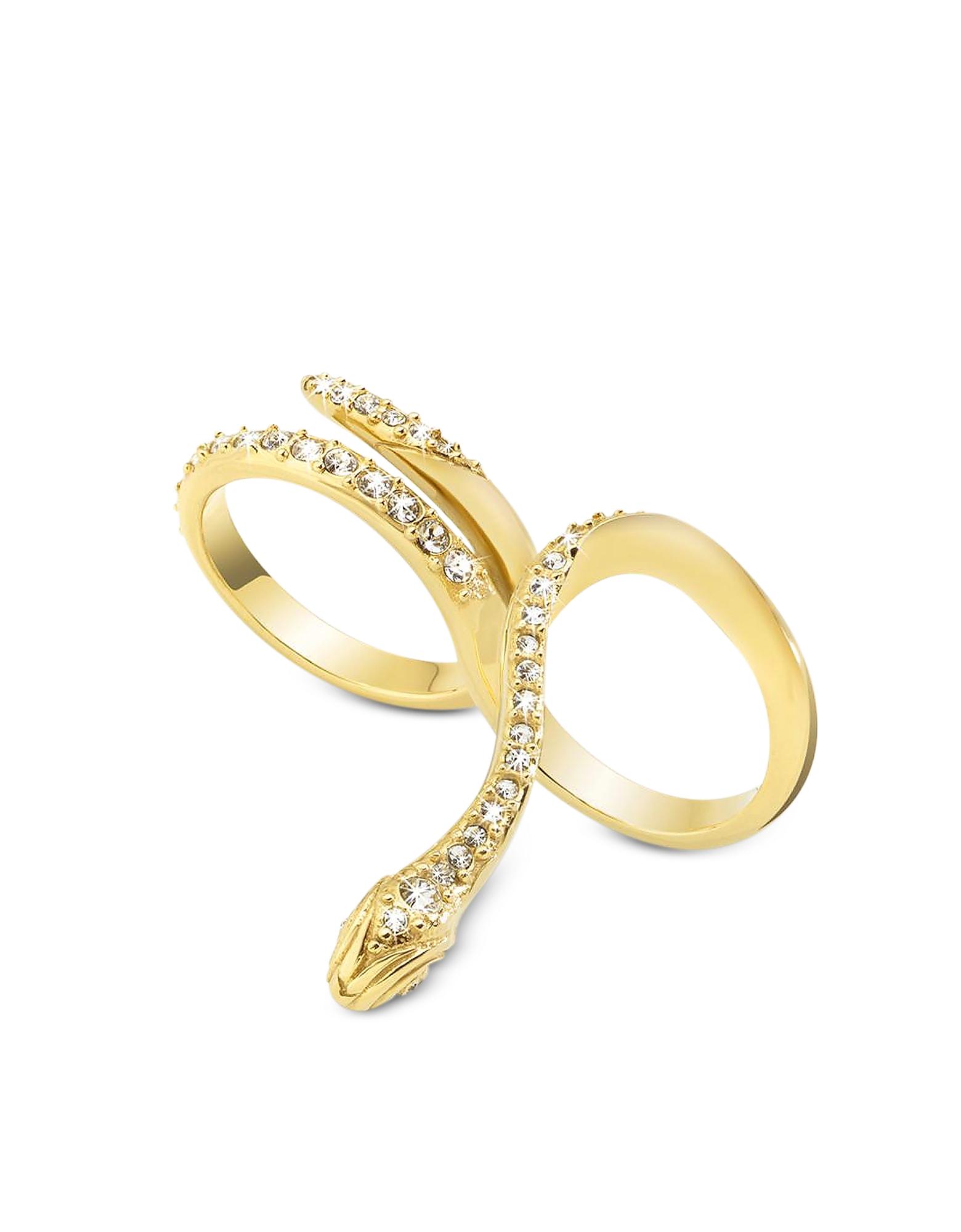 Just Cavalli Just Medusa - Кольцо на Два Пальца из Золотистой Стали с Кристаллами