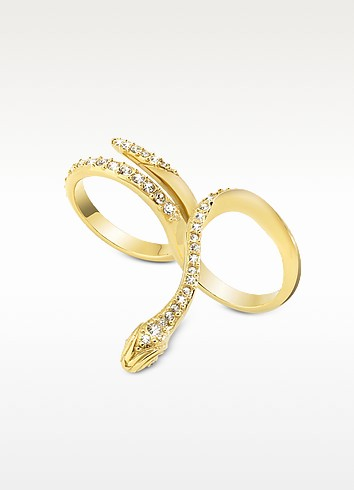 Just Medusa Two Fingers Golden Steel Ring w/Crystals - Just Cavalli
