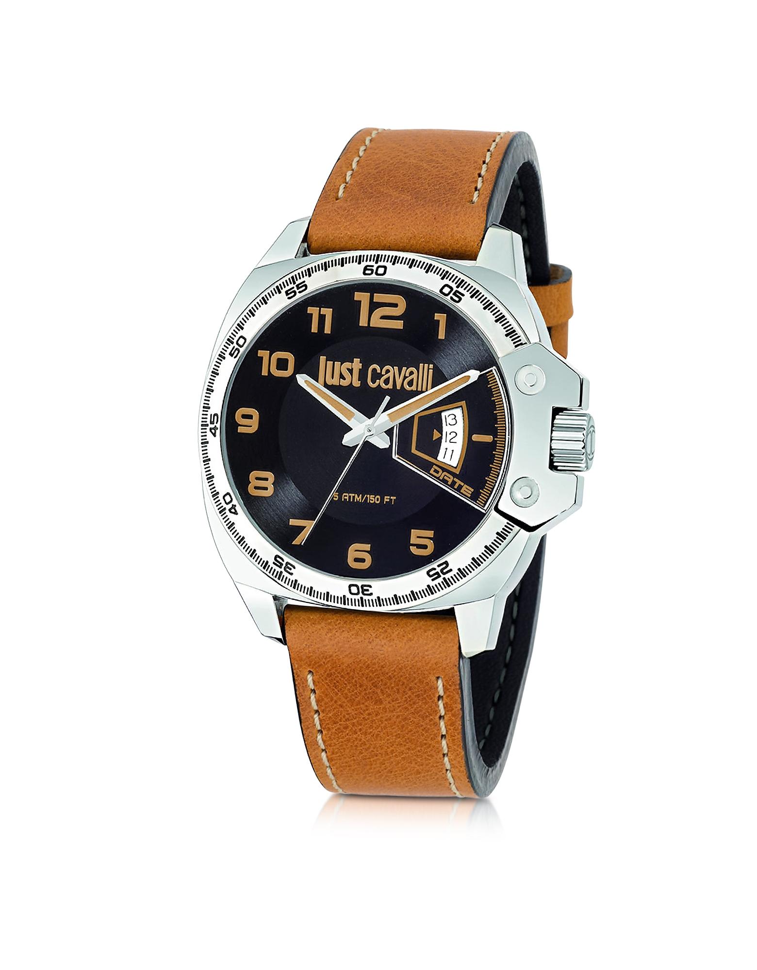 Фото Just Escape - Мужские Часы с Коричневым Кожаным Ремешком. Купить с доставкой