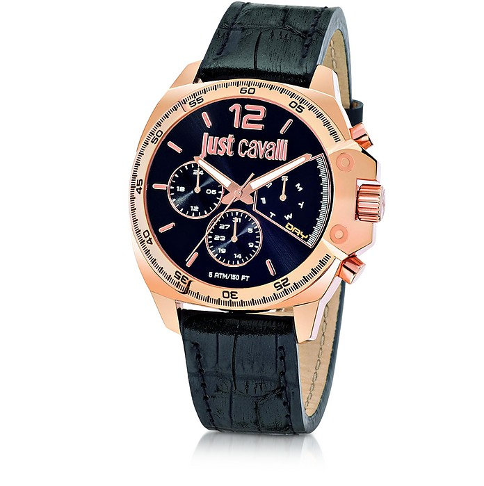 Just Escape Chronograph Rose Gold Steel w/Black Croco Embossed Leather Men's Watch - Just Cavalli
