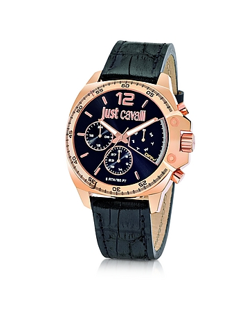 Just Cavalli - Just Escape Chronograph Rose Gold Steel w/Black Croco Embossed Leather Men's Watch