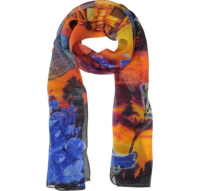 Multicolor Chiffon Silk Long Scarf - Julia Cocco'