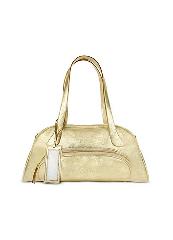 Julia Cocco' Metallic Gold Pebbled Leather Bowling-Style Satchel Bag :  women gold metallic satchel